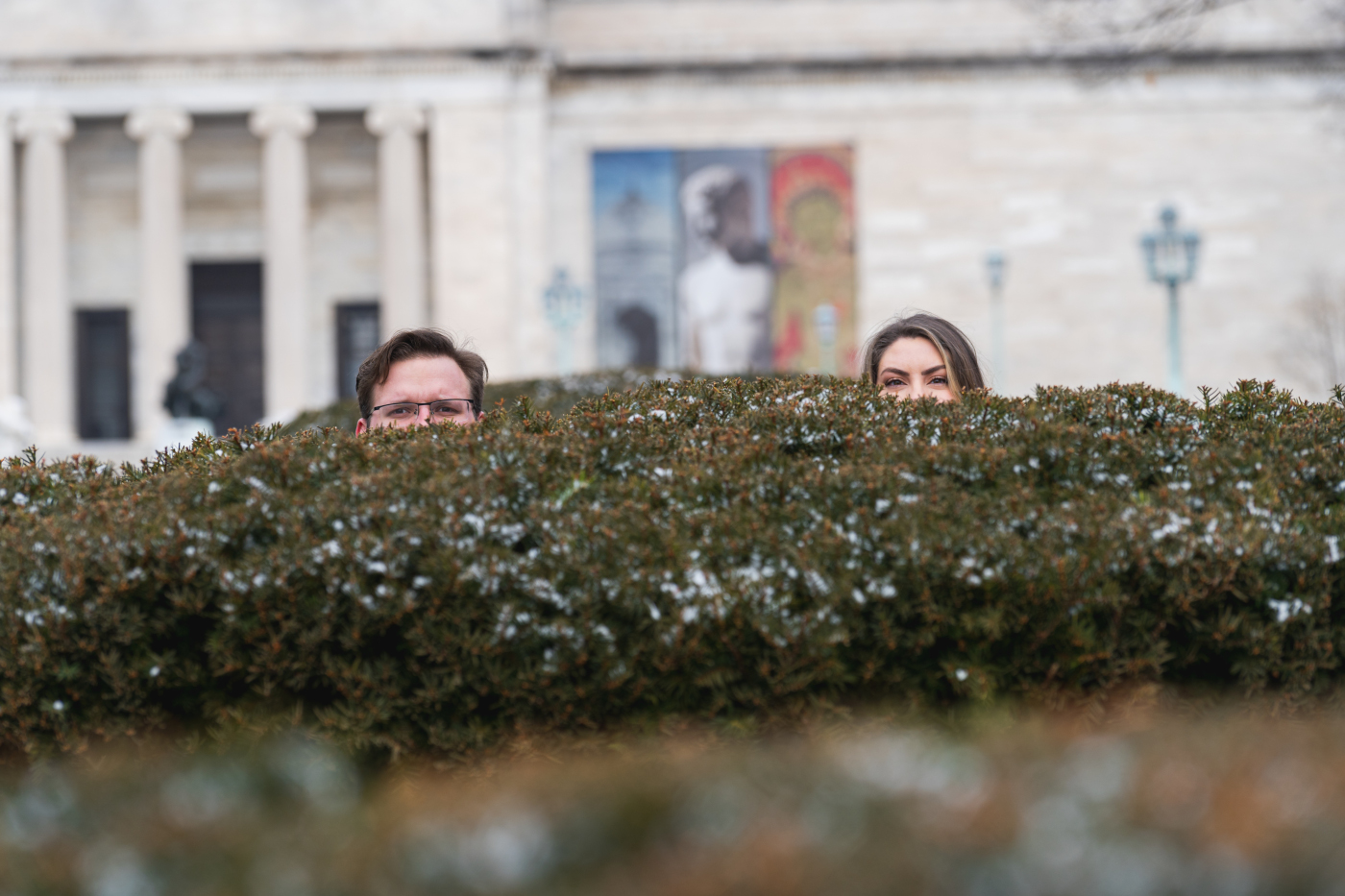 Eric + Kristyn Winter Engagement Session at the Cultural Gardens and The Art Museum